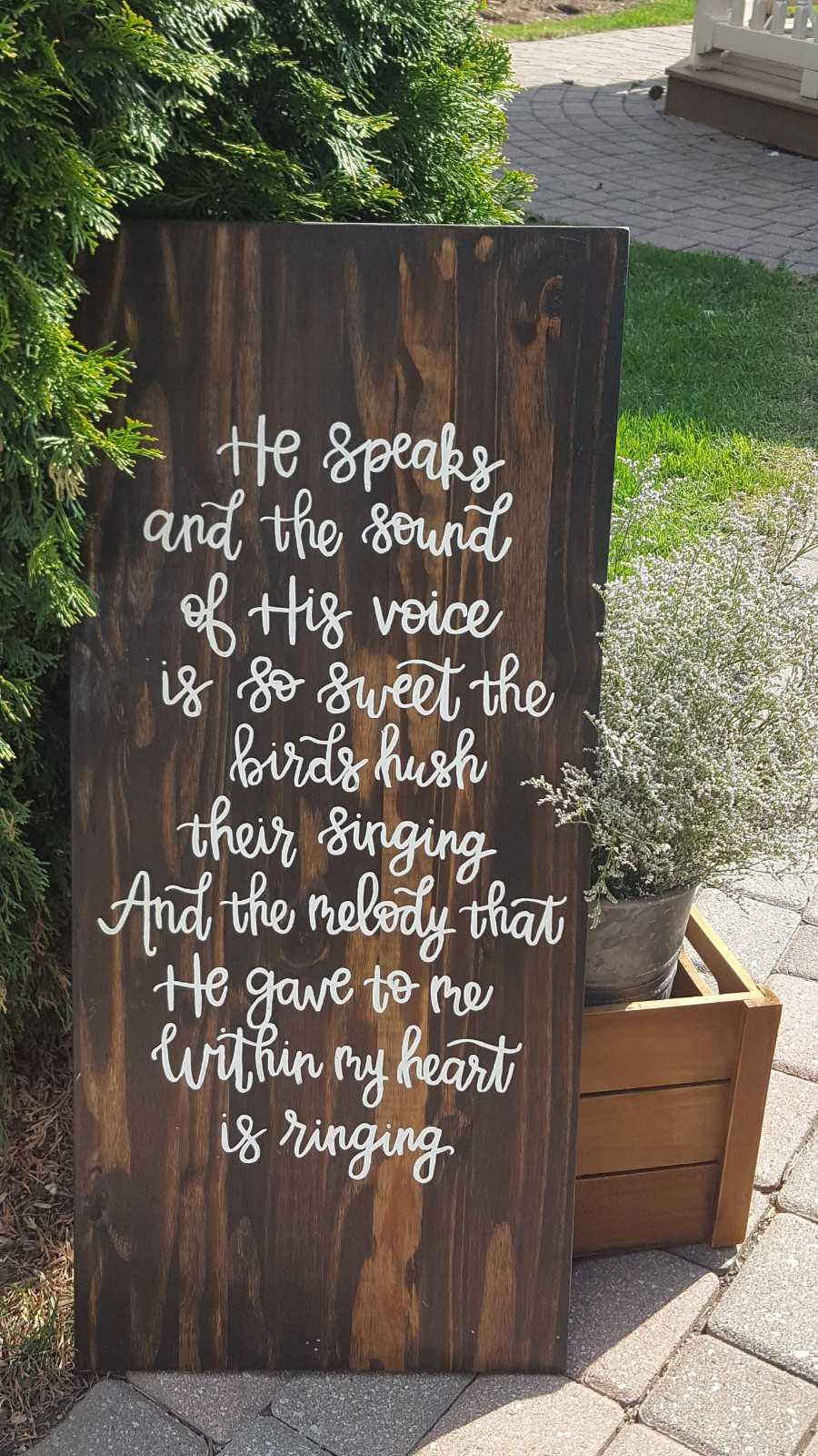 Bible verse on a sign at Carole and Sean's wedding at Sycamore Hills Golf Club, Macomb, Michigan. Sage Green Events coordinated. Picture by Rondo String Quartet.