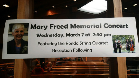 Mary Freed Memorial Concert sign showing Mary and the Rondo String Quartet at Holy Spirit Lutheran Church, West Bloomfield, Michigan.
