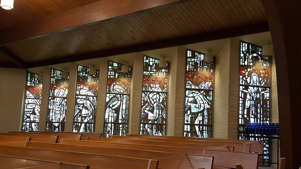 Stained glass windows of St. Clement of Rome in Romeo, Michigan.