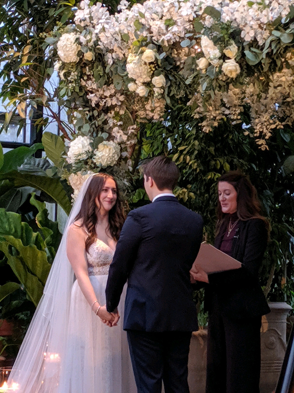 Wedding at Planterra Conservatory, officiant Nichoe Bertucci, music by Rondo String Quartet. www.RondoStringQuartet.com