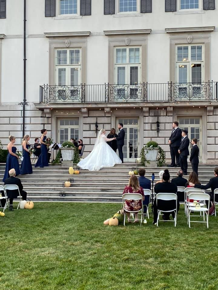 Rondo String Quartet playing for a wedding on the steps of the Grosse Pointe War Memorial. www.RondoStringQuartet.com