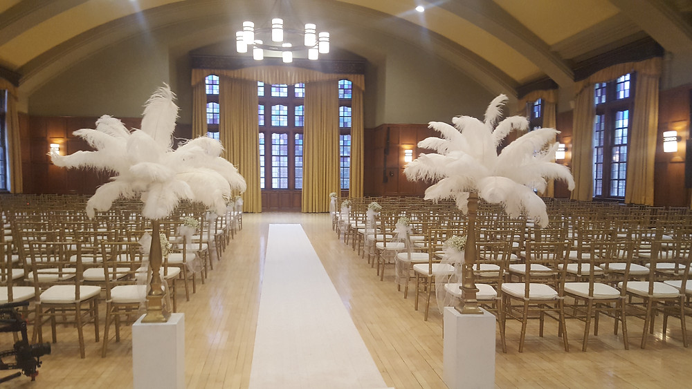 Wedding at the Michigan League, Ann Arbor, Michigan. Roaring 20's theme with feathers. Rondo String Quartet. www.RondoStringQuartet.com