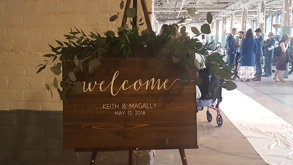 Keith and Magally's wedding sign at the Ford Piquette Avenue Plant, Detroit, Michigan. Picture by Rondo String Quartet