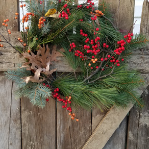 Wreaths, winterberries, and SNOW!