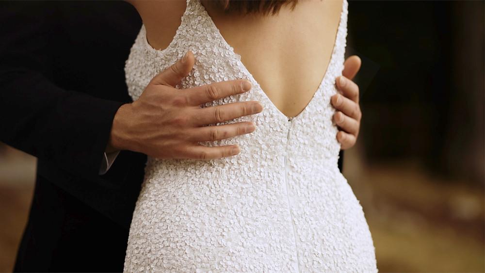 Back of brides sequin dress
