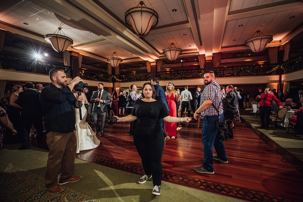 Philadelphia Wedding Videographer on the dancefloor at Collingswood Ballroom in New Jersey