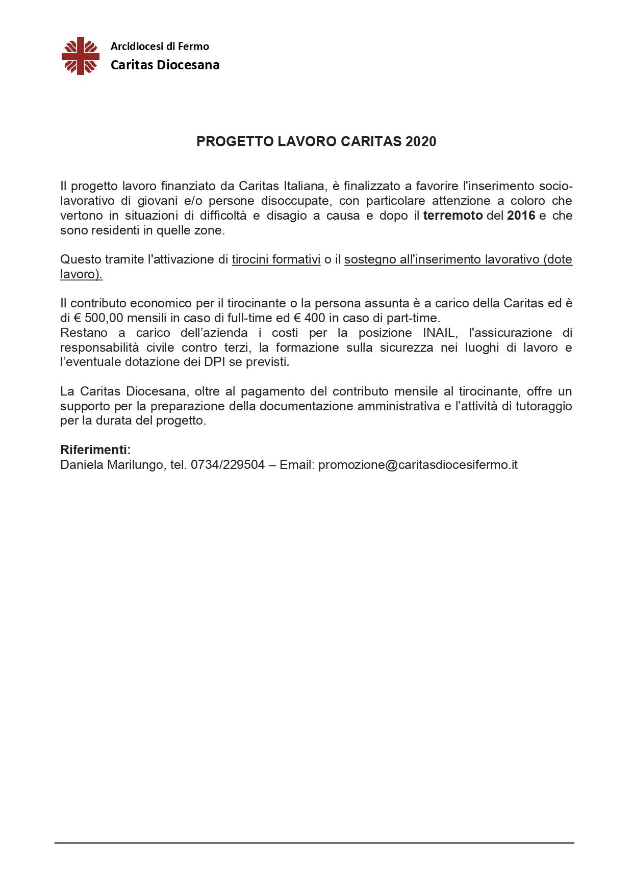 Scheda sintetica_PROGETTO LAVORO CARITAS