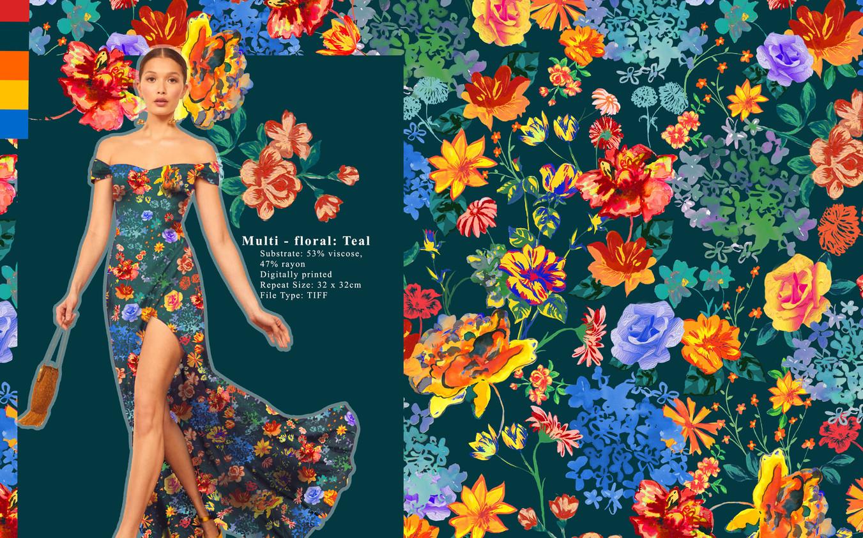 Multi-Floral Teal