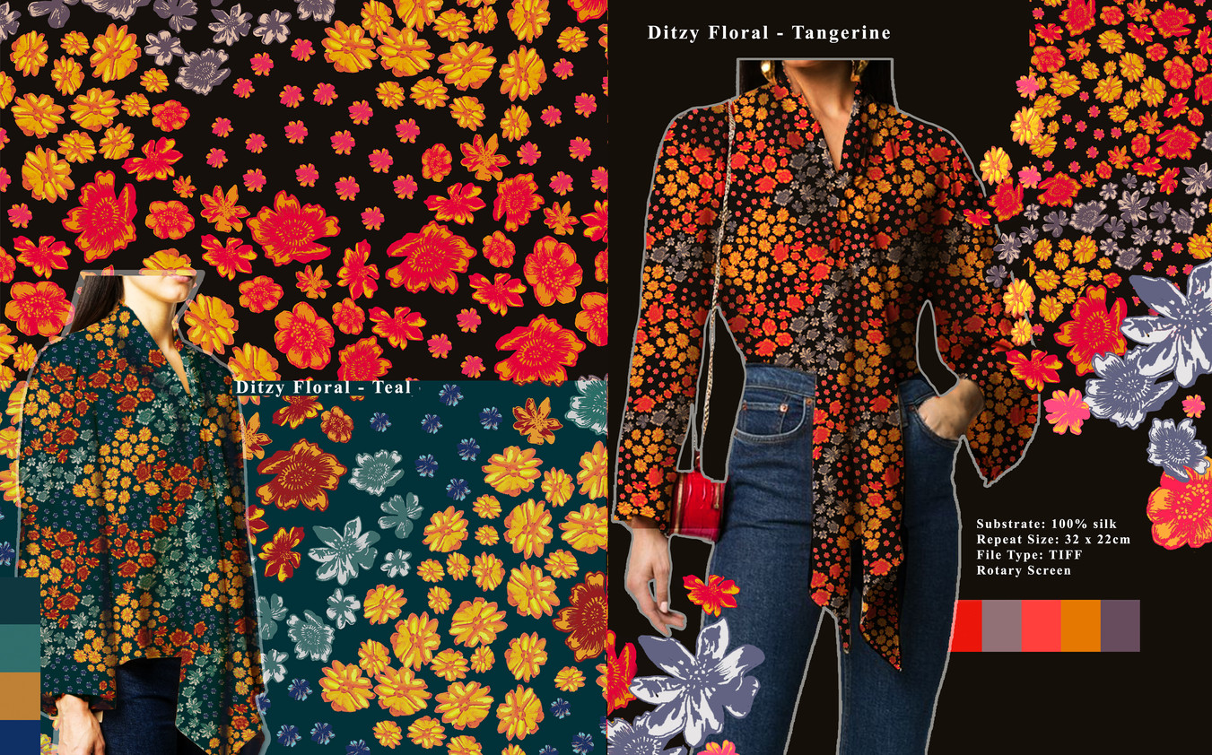 Ditzy Floral Tangerine and Teal