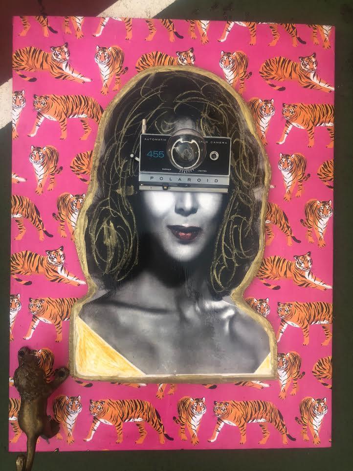 """excuse my fierceness"" mix media wall art lamp"