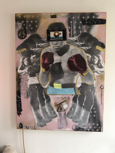 """""""je suis pret""""(mix media wall art lamp)"""