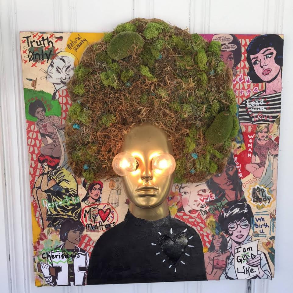 """""""the power of her"""" mix media wall lamp"""
