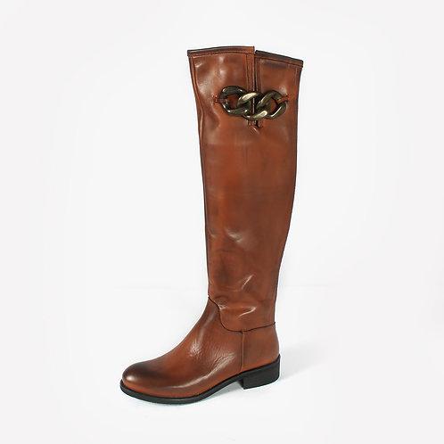 DADA - Stivali in pelle con catena - Nero, Marrone