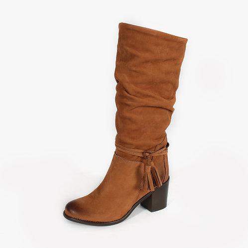 DADA - Stivali in pelle con nappine - Marrone, Nero