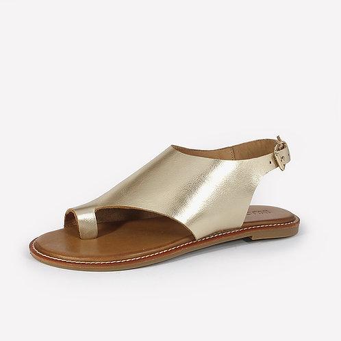 INUOVO - Sandalo infradito in pelle - Nero, Oro