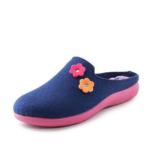 Inblu - Pantofole con pelliccia e decori floreali