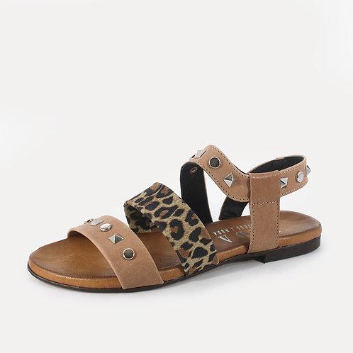 DADA - Sandali animalier con borchie - Nero, Marrone