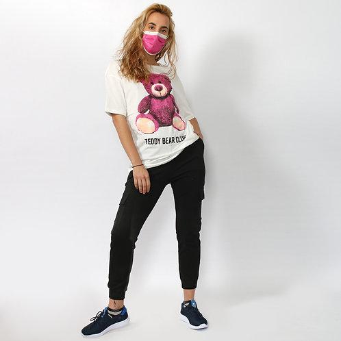 DADA - T-shirt in cotone con orsetto - Bianco, Grigio, Lilla, Azzurro