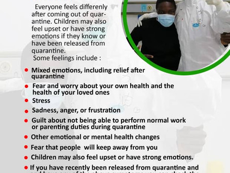 COVID-19 and Mental Health for People Released from Quarantine