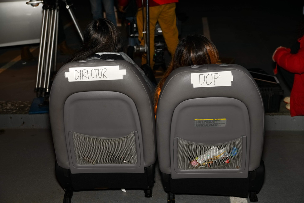 We had to remove the front seats of my car for a scene during Thursday night, and  my dp and I returned to see the crew had made us our very own directors chairs