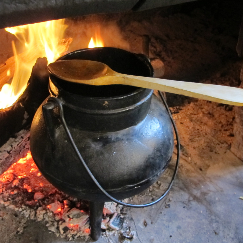 Cooking a stew on the traditional liebana fireplace