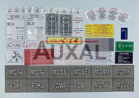 Stickers - sticker - autocollant - autocollants compartiment moteur 205 GTI 1.6