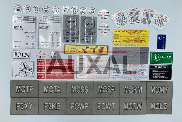 Stickers - sticker - autocollant - autocollants compartiment moteur 205 GTI 1.9