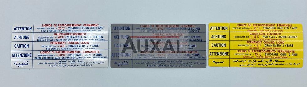 Sticker autocollant liquide refroidissement 205 309 GTI RALLYE  CTI