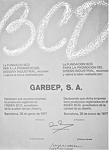 Lanco Toys (Garbep, S.A, 1977) award granted by BCD.