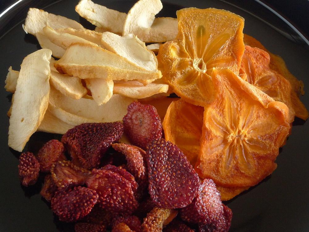 Três sabores de frutas secas