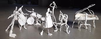 sculpture fil de fer et platre, groupe de musisciens angers laure duquesne sculpteur
