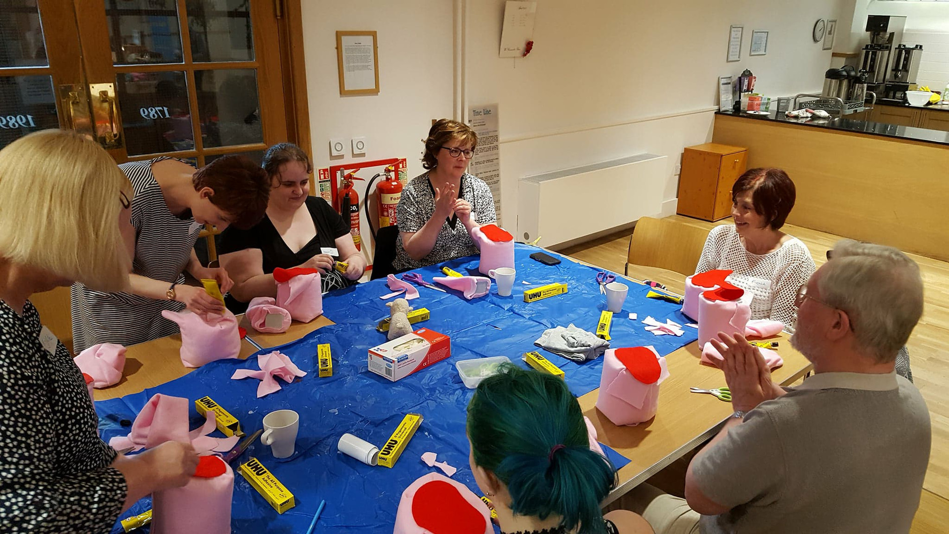 Making Puppet heads with a lovely bunch of people