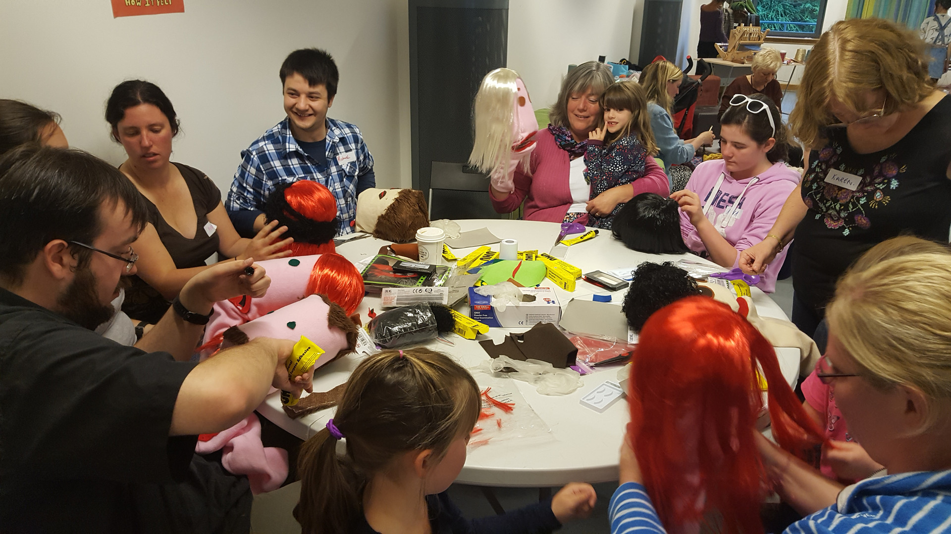 Puppet makers in action in a workshop hosted by Dundee Mini Make off