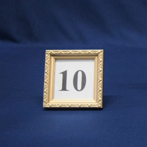 soft gold small square frame table number