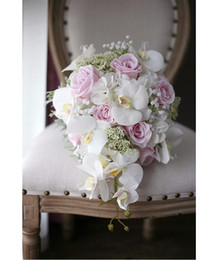 ivory and pink cascading bouquet
