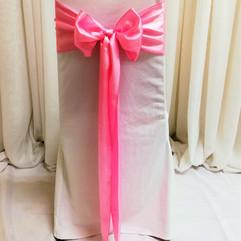pink satin chair tie