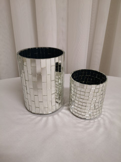 silver mosaic vases