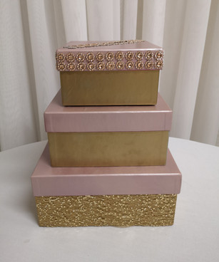 gold and pink 3 tier