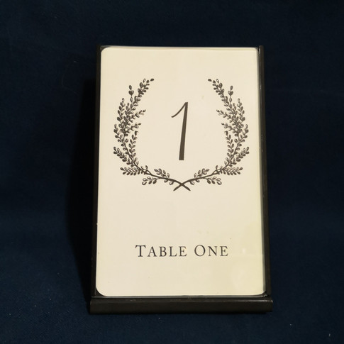 black frame table number