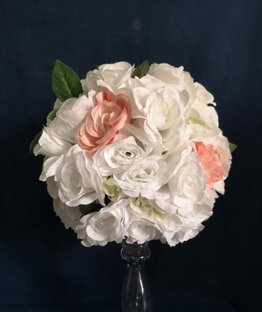 white blush pink flower ball