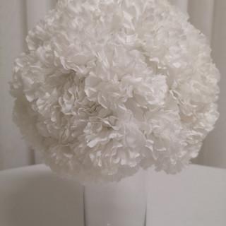 white carnation ball