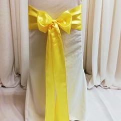 yellow satin chair tie