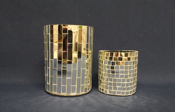 mirror mosaic candle holders