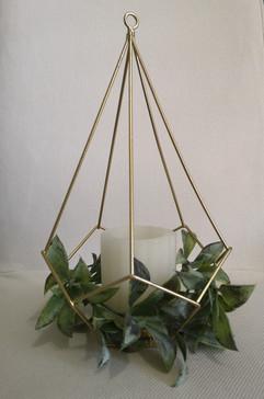 gold geometric with greenery