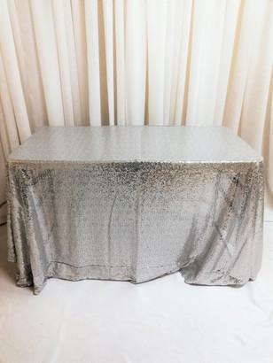 silver sequin rectangular tablecloth