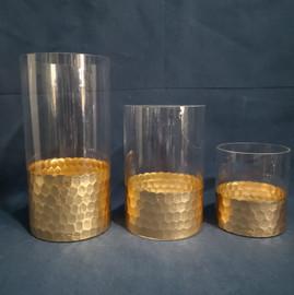 gold honeycomb bottom vases