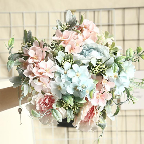 blush pink and blue bouquet