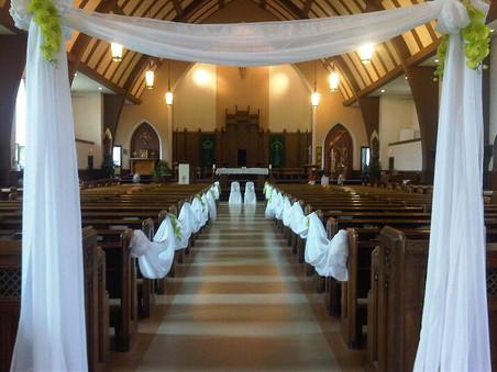 church décor with arch
