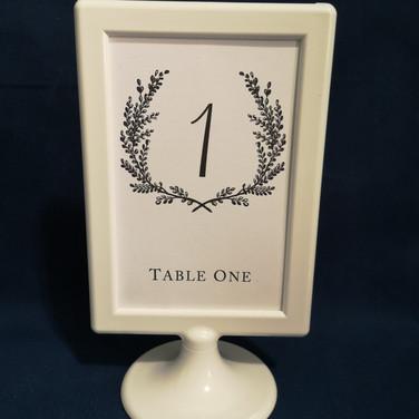 white frame table number