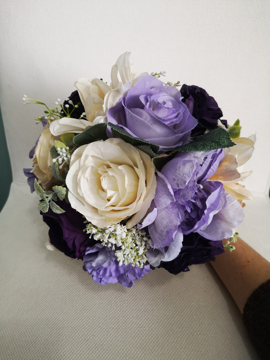 aubergine, lilac and ivory bouquet